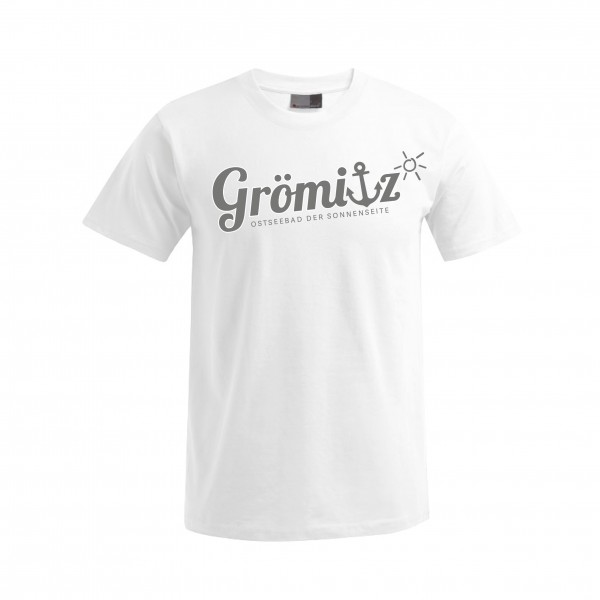 T-Shirt im Grömitz Design Herren Weiß