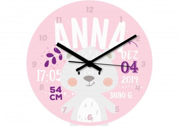 Uhr zur Geburt - Anna - Personalisierbar - Rosa-Lila