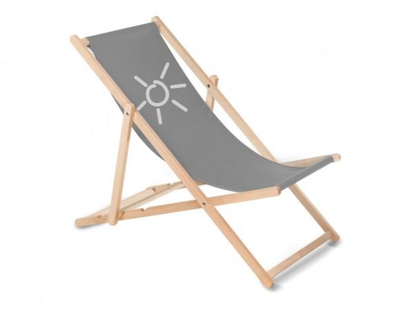 Sonnenplatz Liegestuhl aus Holz mit Wunschnamen - Anthrazit
