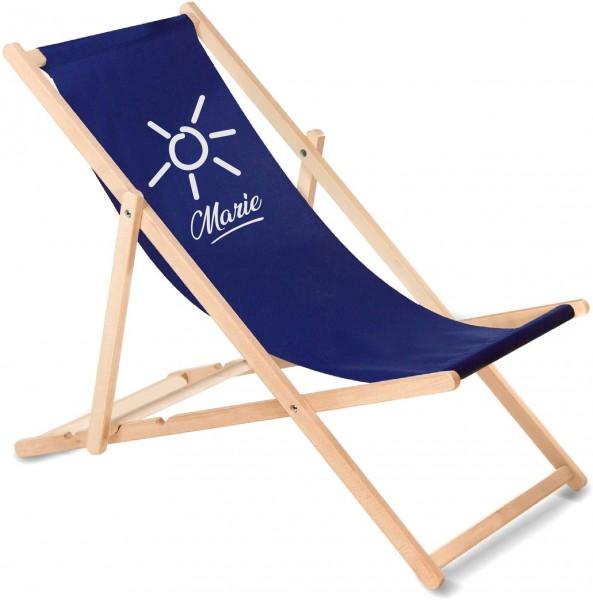Sonnenplatz Liegestuhl aus Holz mit Wunschnamen