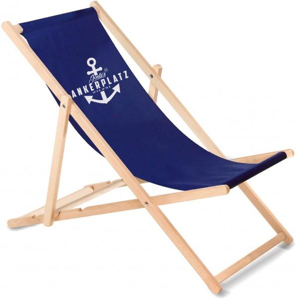 Ankerplatz Liegestuhl aus Holz mit Wunschnamen