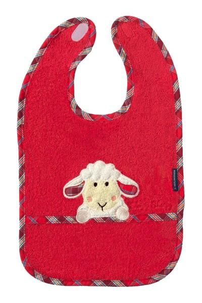 Morgenstern Lätzchen reine Baumwolle, Sleepy Sheepy, rot