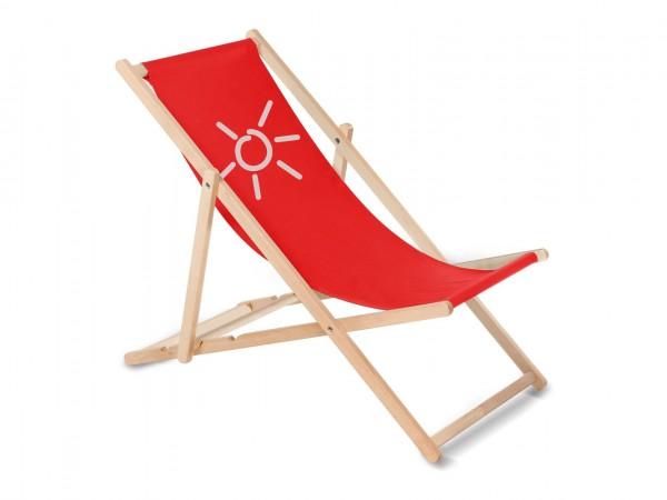 Sonnenplatz Liegestuhl aus Holz mit Wunschnamen - Rot