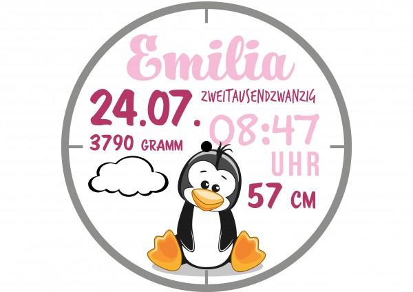 Uhr zur Geburt - Pinguin Emilia - Rosa - Personalisierbar