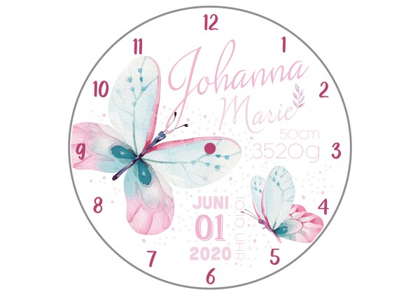 Uhr zur Geburt - Schmetterling Johanna - Personalisierbar