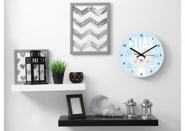 Uhr zur Geburt - Elias - Personalisierbar
