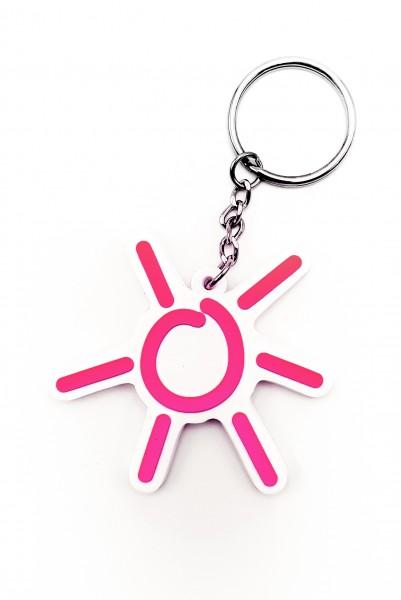 Sonnen-Anhänger in Magenta Weichgummi-Schlüsselanhänger 3D