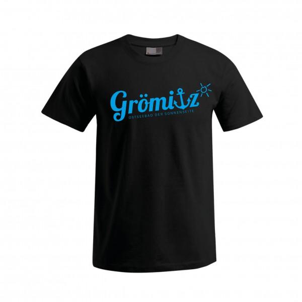 T-Shirt im Grömitz Design Herren Schwarz