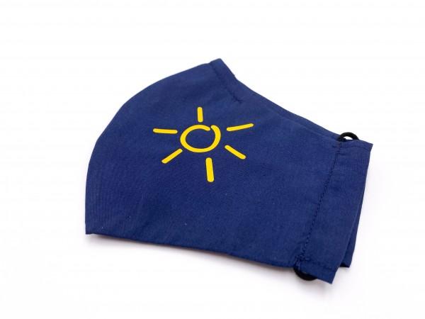 Mund-Nasen-Maske Luxus Baumwolle Marine - Sonnengelb