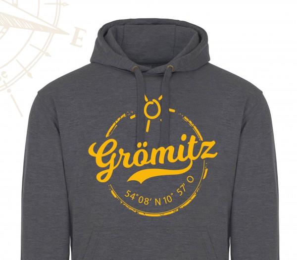 HOODIE - Grau - Grömitz Stempel Aufdruck