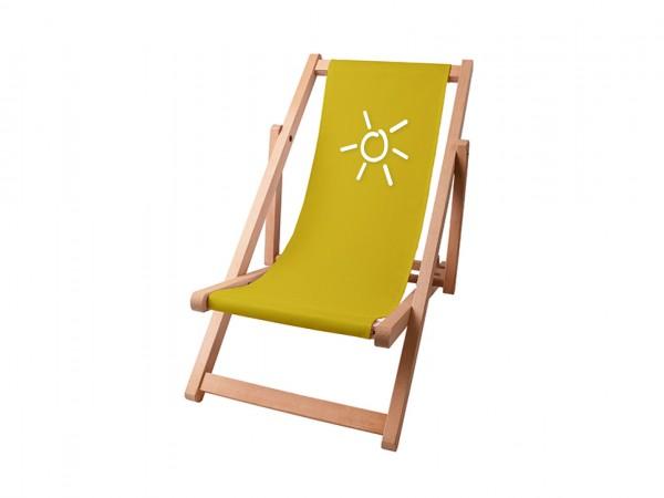 Kinder Sonnenplatz Liegestuhl aus Holz mit Wunschnamen - Grün