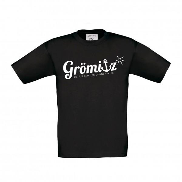 T-Shirt im Grömitz Design Kinder Schwarz