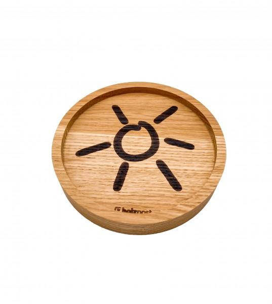 Untersetzer aus Eiche mit Grömitz-Sonne graviert 11cm Durchmesser