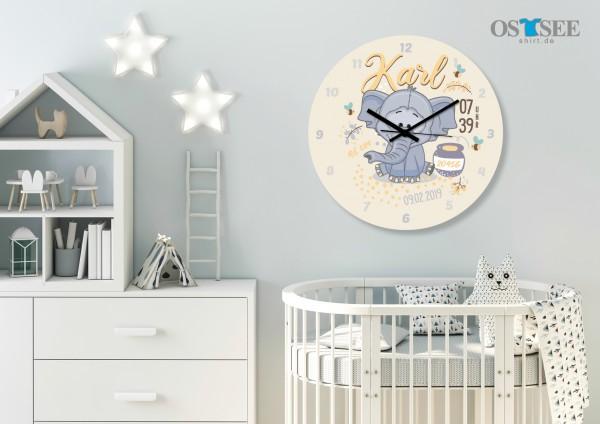 Uhr zur Geburt - Elefant Karl - Personalisierbar