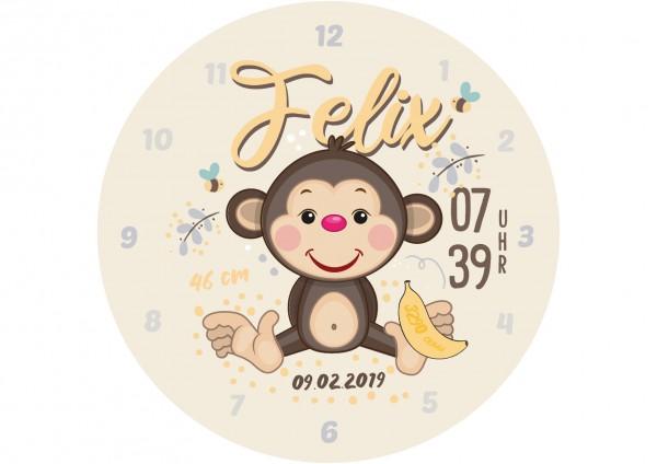 Uhr zur Geburt - Affe Felix - Personalisierbar