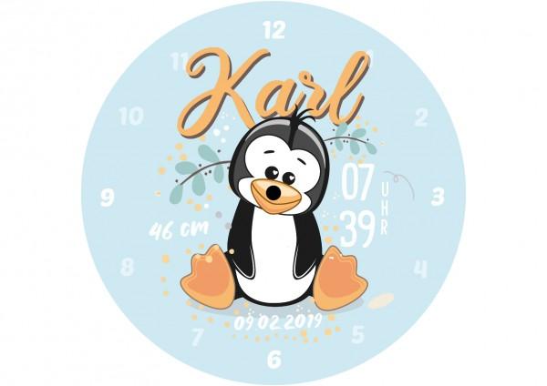 Uhr zur Geburt - Pinguine Karl - Personalisierbar