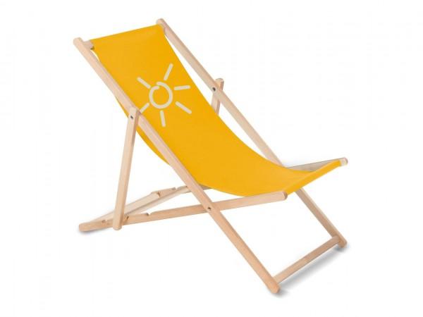 Sonnenplatz Liegestuhl aus Holz mit Wunschnamen - Gelb
