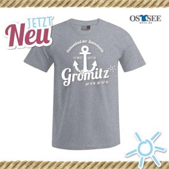 T-Shirt mit Anker Motiv Grömitz Grau