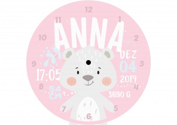 Uhr zur Geburt - Anna - Personalisierbar