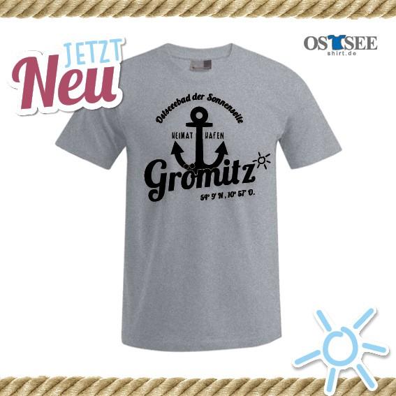 T-Shirt mit Anker Motiv Grömitz Grau-Copy