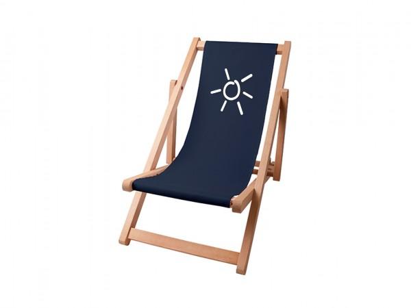 Kinder Sonnenplatz Liegestuhl aus Holz mit Wunschnamen - Marine