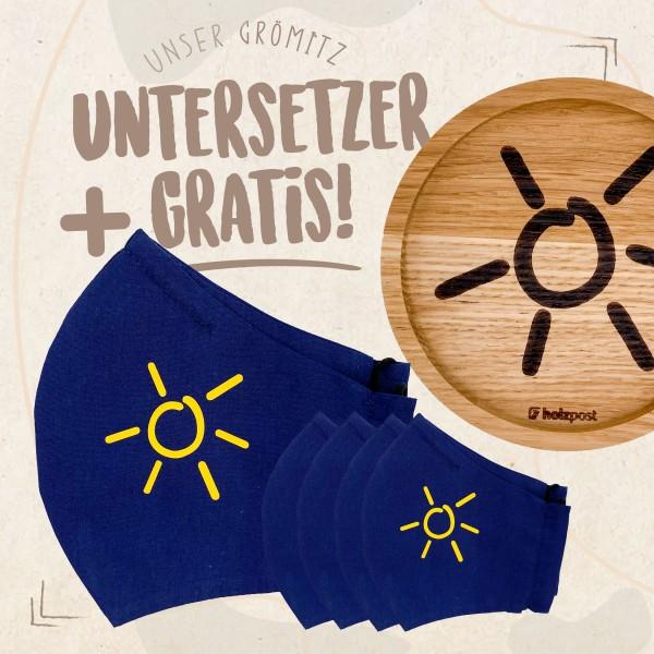 Rabattaktion - Mund-Nasen-Maske Marine 5 Stück - Sonnengelb + Untersetzer Gratis