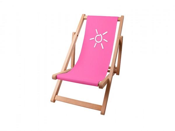 Kinder Sonnenplatz Liegestuhl aus Holz mit Wunschnamen - Pink