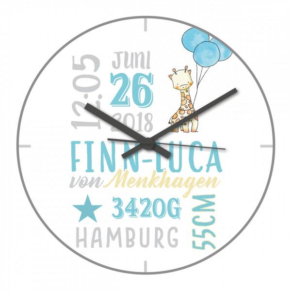 Uhr zur Geburt Giraffen-Motiv