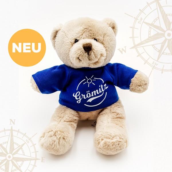 Grömitz Teddybär Braun mit blauem T-Shirt