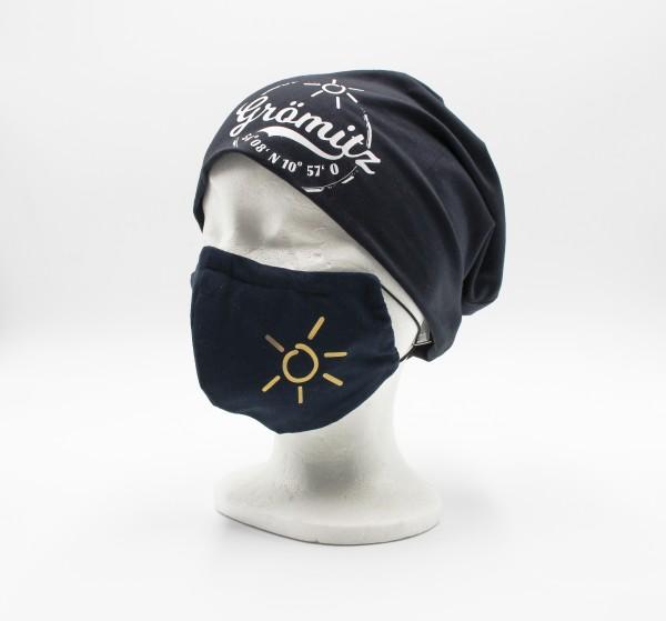 Mund-Nasen-Maske Luxus Baumwolle Marine - Gold