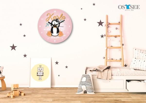 Uhr zur Geburt - Pinguine Karl - Personalisierbar-Copy-Copy