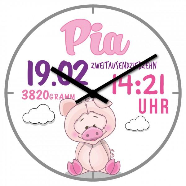 Uhr zur Geburt Schweinchen