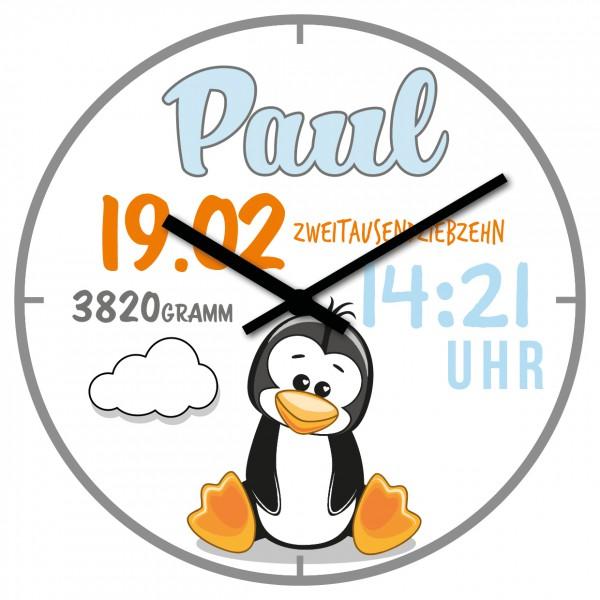 Uhr zur Geburt Pinguin
