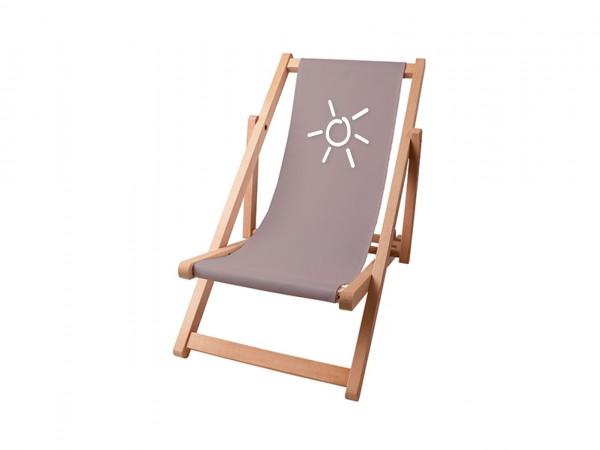 Kinder Sonnenplatz Liegestuhl aus Holz mit Wunschnamen - Taupe