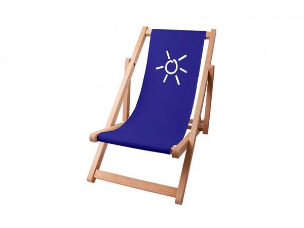 Kinder Sonnenplatz Liegestuhl aus Holz mit Wunschnamen - Blau