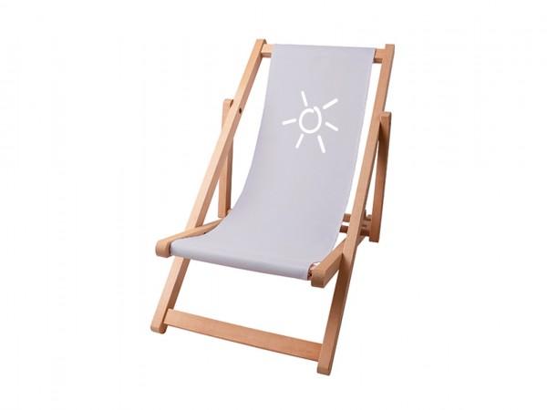 Kinder Sonnenplatz Liegestuhl aus Holz mit Wunschnamen - Grau