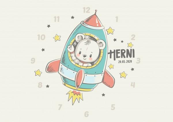 Uhr zur Geburt - Henri- Personalisierbar