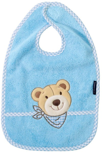 Morgenstern Lätzchen reine Baumwolle, Bär, Blau